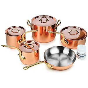 mauviel m'heritage 9piece copper cookware set with bronze handles