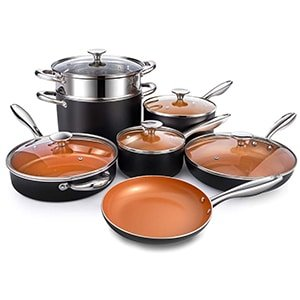 michelangelo copper pots and pans set nonstick 12 piece