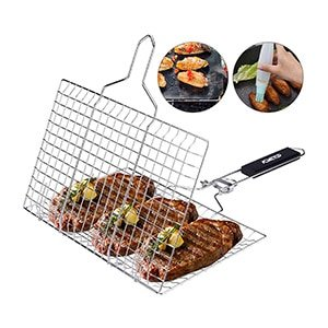acmetop bbq grill basket, stainless steel grilling basket