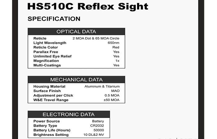 Key Features of the Hs510c 2 Moa Do Open Reflex Circle Dot Red Dot Sight