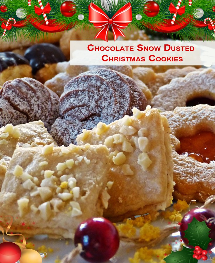 Chocolate Snow Dusted Christmas Cookies